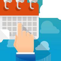 Изображение руки и календаря на фоне облаков от хостинг компании Евробайт.