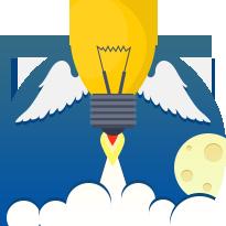 Изображение жёлтой лампочки с крыльями на фоне облаков, луны и круга синего цвета. Фото компании Евробайт