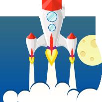 Ракета летящая вверх на фоне луны, облаков и синего шара (земля). рисунок принадлежит хостинг компании Евробайт