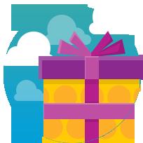 Изображение подарка в голубо-синем круге, на фоне белых облаков от хостинг компании евробайт
