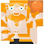 изображение робота с шариком от компании евробайт