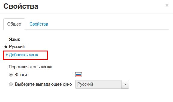 """Конструктор сайт рег.ру. Меню языковой панели """"Свойства""""."""