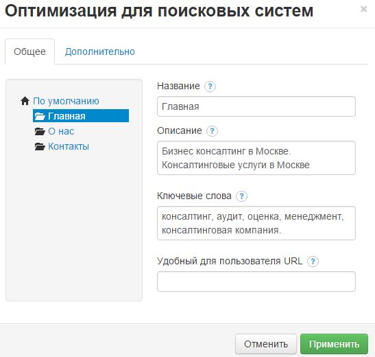 Конструктор рег ру. Сео оптимизация созданного сайта.