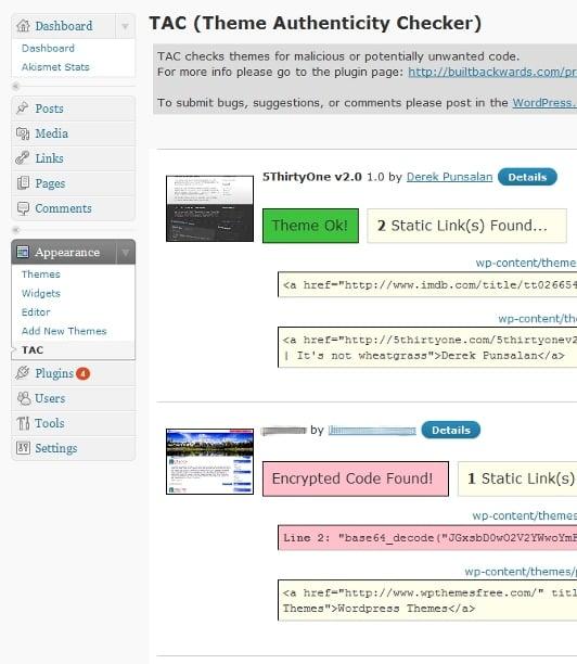 Скриншот работы плагина Theme Authenticity Checker (TAC)