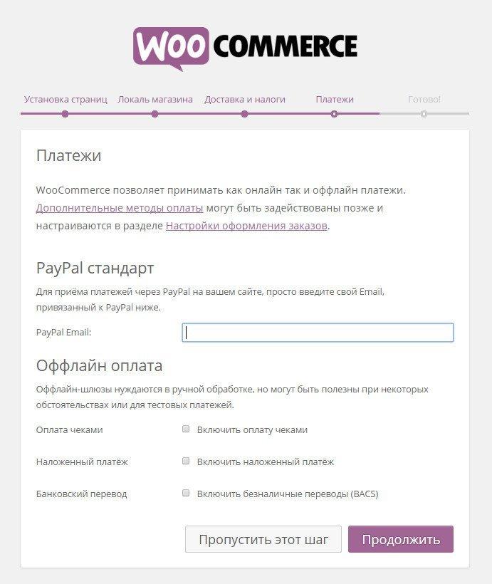 WooCommerce позволяет принимать как оффлайм так и онлайн платежи